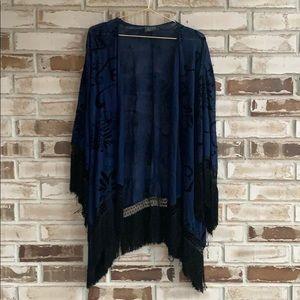 ASTR • Velvet Burnout Fringe Kimono Sz S